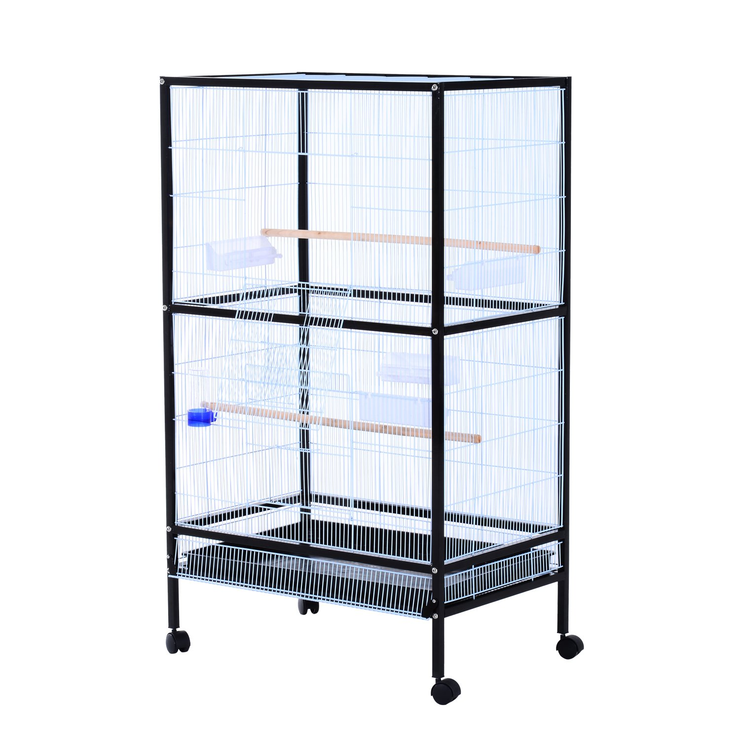 PawHut 30x20.5x54-Inch Bird Cage Parrot Macaw Finch Cockatoo Flight Cage with Wheels Black/White Aosom Canada