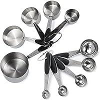 Vasos y cucharas de Acero Inoxidable medir Ingredientes líquidos y Secos (Vasos de cucharas, Juego de 10)