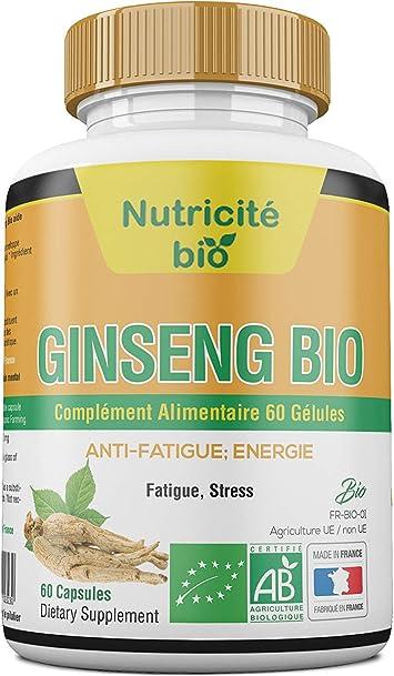 Raíz de Ginseng Orgánico - Rico en ingredientes activos - Ginseng orgánico para aliviar la fatiga, el estrés, el sueño o los problemas de ...