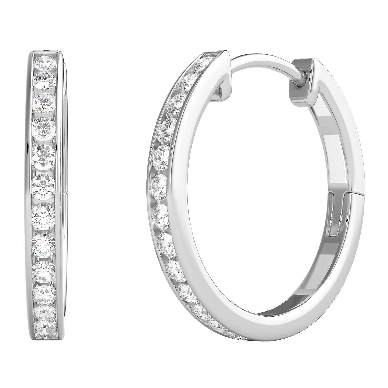 Helzberg Diamonds 10K White Gold 1/4 cttw Round Brilliant-Cut Diamond (I-J Color, I2-I3 Clarity) Hoop Earrings