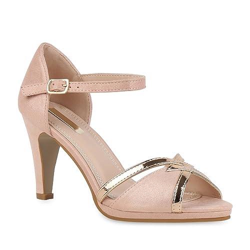 b18aa3ddf82fe4 Stiefelparadies Damen Schuhe Riemchensandaletten High Heels Party  Sandaletten 155536 Rosa Lack 36 Flandell