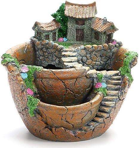 sdfghzsedfgsdfg Modelos creativos Jardín Macetas suculentas Macetas de Resina de Micro Paisaje Manualidades Adornos de Escritorio Suministros de jardín Decoración: Amazon.es: Deportes y aire libre