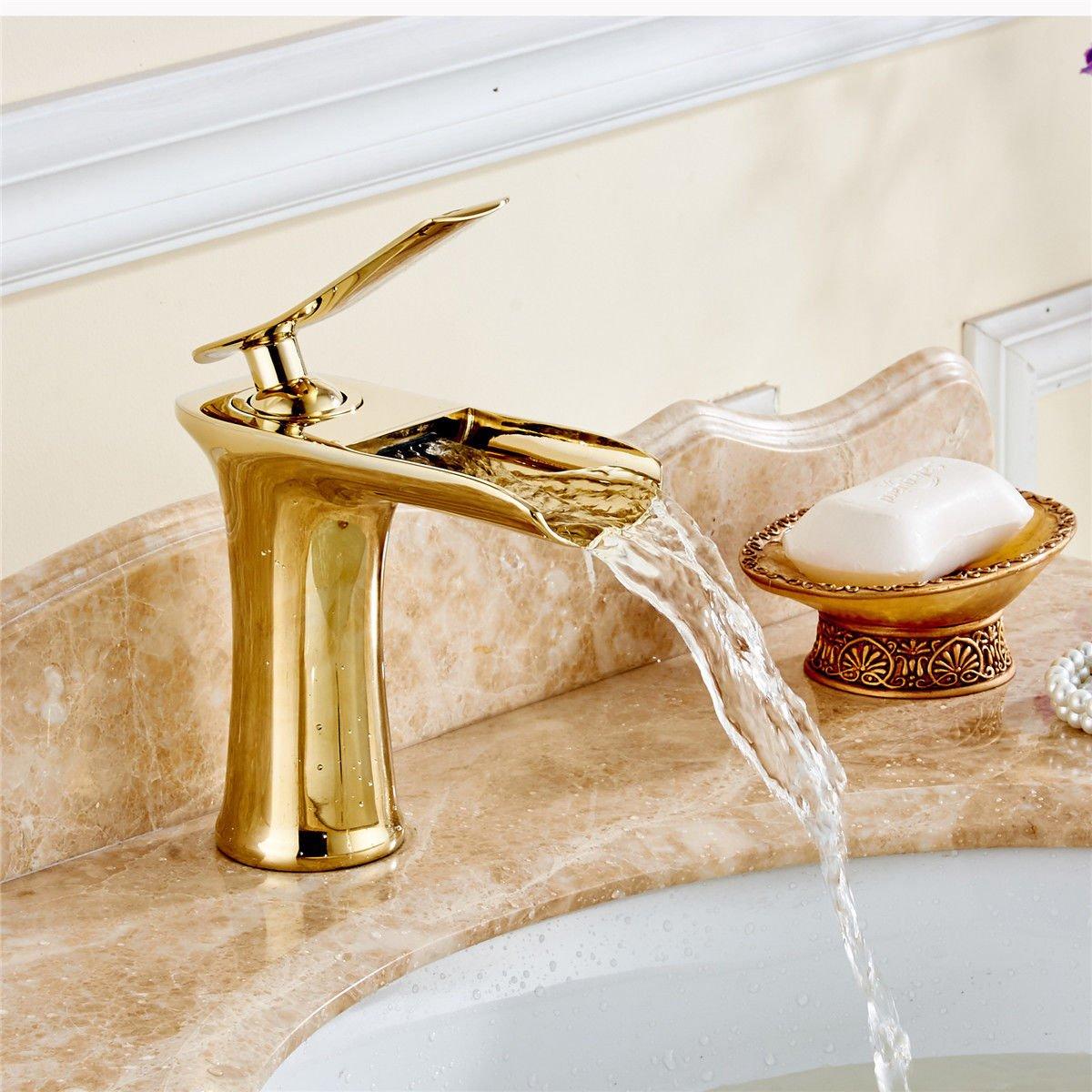 Good quality Antiquitäten Becken Spül Mischer Tap Messing voll Kupfer Gold Bad Waschbecken Wasserhahn Waschbecken Waschbecken Wasserhahn Wasserfall Wasserhahn