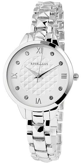 Reloj mujer Blanco Plata Analog brillantes números romanos metal Reloj de pulsera: Amazon.es: Relojes