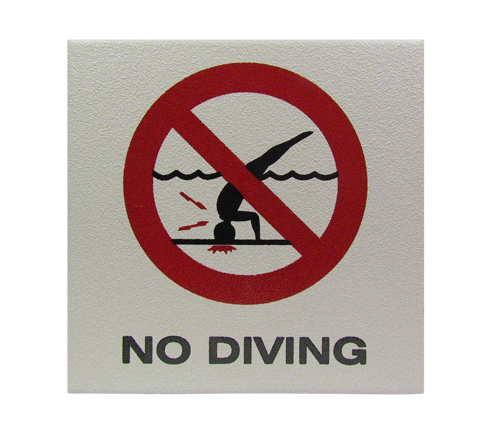No Diving Symbol Skid Resistant Depth Marker - 6 x 6 Inch by Inlays, Inc.