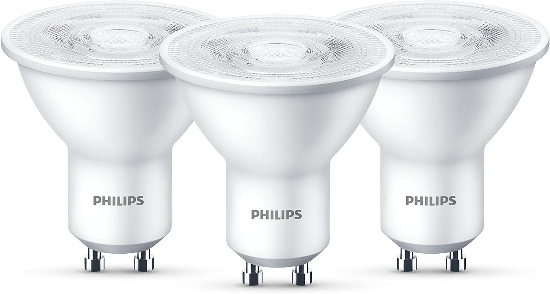 3x Philips GU10 LED Spot 4,7W Ersatz 50W Reflektor Strahler 345L 36° 2700K WEISS
