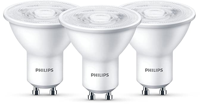 Philips Lighting Bombillas LED GU10, 4.7 W, Gris, Pack de 3 de 4,7 W, 3 Unidades