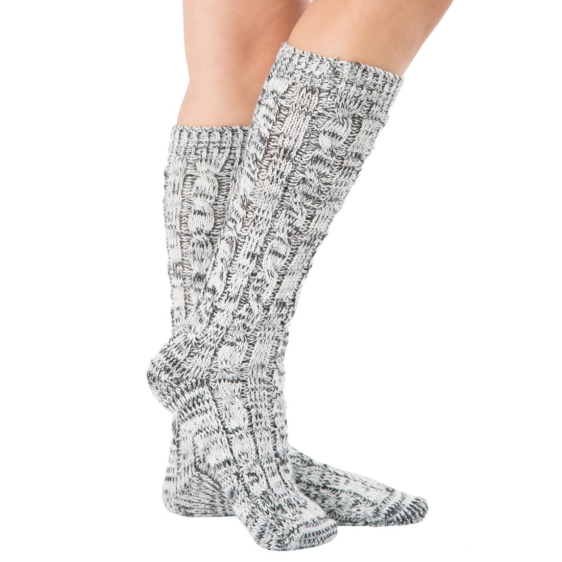 Women Slipper Crew Floor Cozy Socks House Cable Knit Leg Warmers Knee High Length for Winter SCK60040WTBK