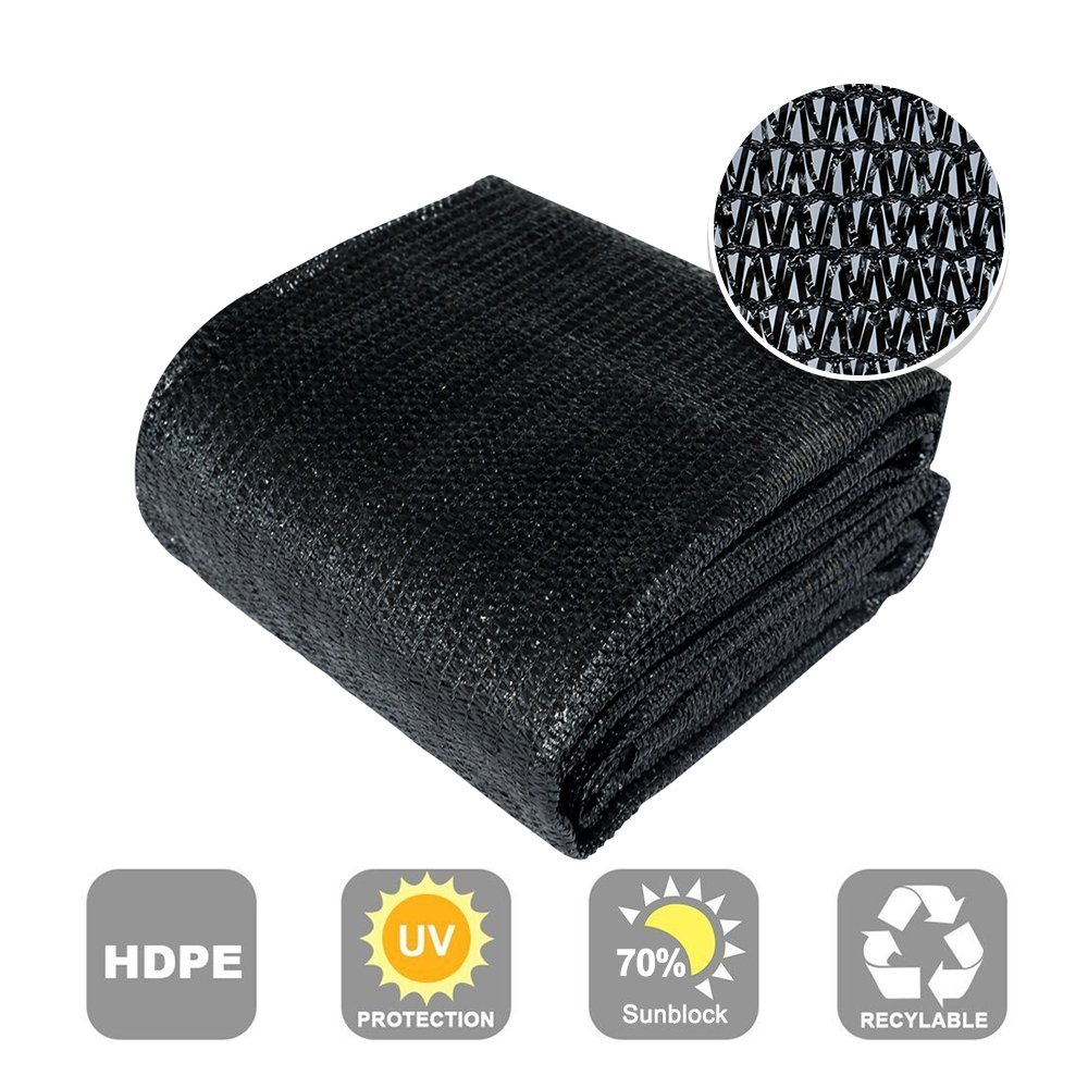 Agfabric 70 Sunblock Shade Cloth Cover with Clips for Plants 12 X 16 , Black