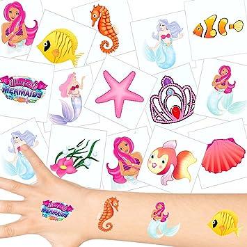 German Trendseller - 36 x Tatuajes temporales Sirena┃ Fiestas Infantiles┃ Idea de Regalo┃piñata┃cumpleaños de niños┃ 36 Unidades…