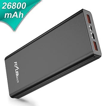 FLYLINKTECH Batería Externa 26800mAh QC 3.0 Power Bank con USB-C PD, Cargador Portátil de Alta Capacidad de Carga Rápida para ...