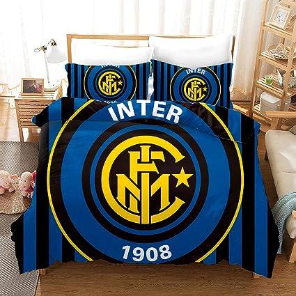 Piumone Matrimoniale Inter.3d Calcio Giganti Biancheria Da Letto Trapuntatura In Fibra Di