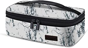Gloppie Small Lunch Box for Women Men Insulated Lunch Bag Mini Lunchbag for Bento Box Flat Lunch Pail Petty Food Containers Portable Cooler Bags Reusable Snack Bag Loncheras Para Mujer White Marble