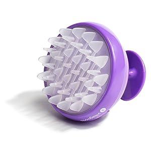 Vitagoods Scalp Massaging Shampoo Brush - Handheld Vibrating Massager, Water-Resistant Device - Purple