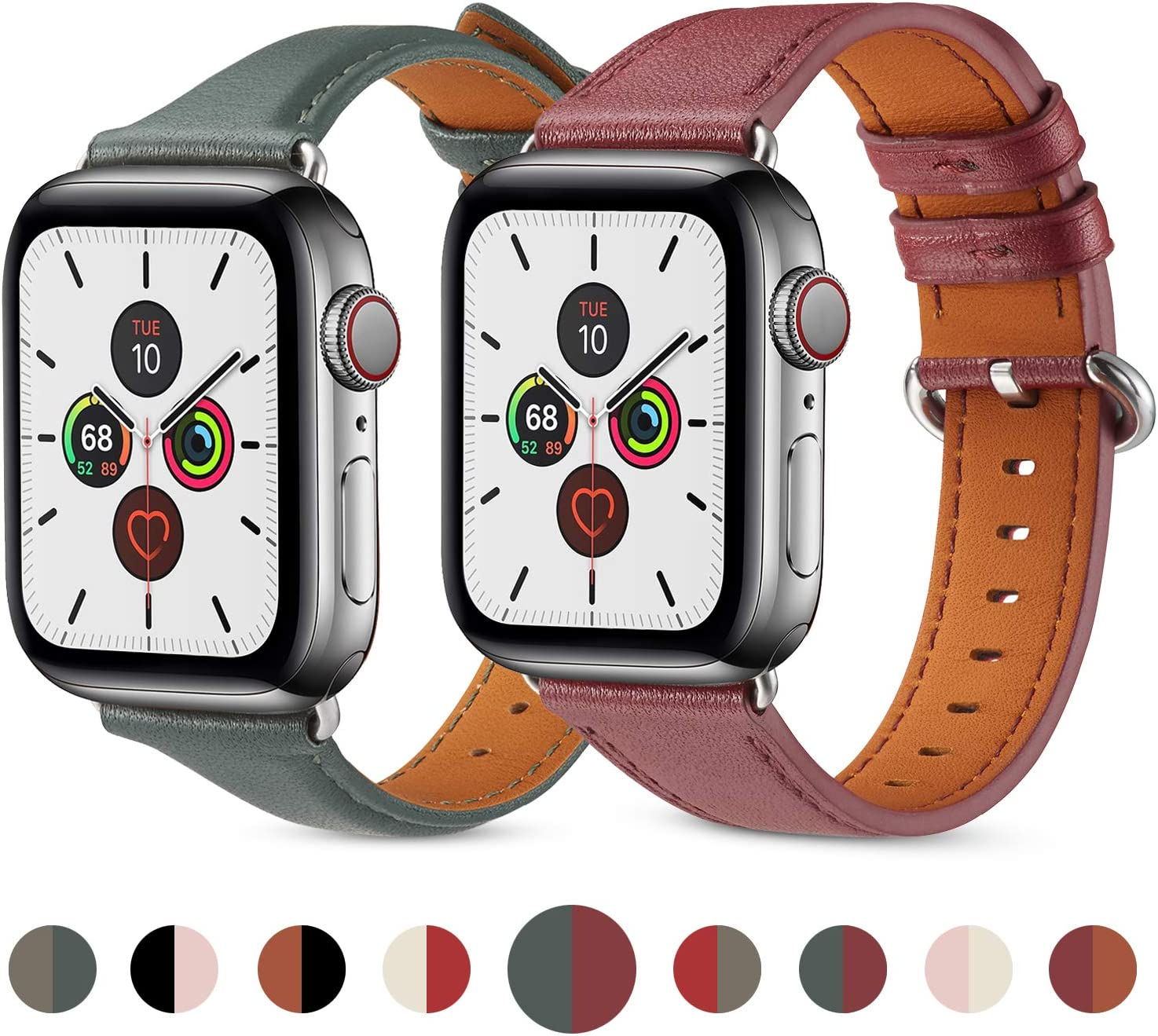 (2PACK)Compatible with Apple Watch Band 38mm 40mm Women for Series 6 5 4 3 2 1. Pierre Case for iWatch Bands Durable Genuine Leather Replacement Strap [2 Pack Set] (Burgundy & Midnight Green)