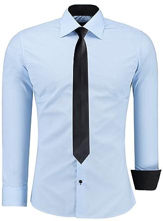 Pour Casual Cravate Homme Fit Jeel Chemise Manche Noire Slim Longue c5ARj3qS4L