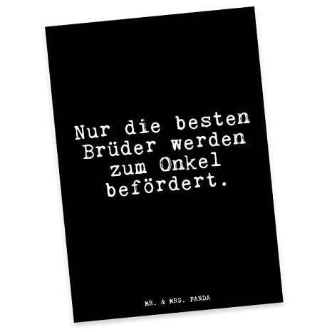 Mr Mrs Panda Postkarte Mit Spruch Nur Die Besten Brüder Werden Zum Onkel Befördert 100 Handmade Aus Karton 300 Gramm Postkarte