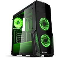 Empire Gaming - Case PC Gaming WarFare Nero LED Verde: USB 3.0 e 3 Ventole LED 120 mm, parete laterale trasparente affumicato - ATX / mATX / mITX