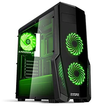 Empire Gaming - Caja PC para juegos WarFare negra LED verde: USB 3.0, 3 ventiladores LED 120 mm, pared lateral ahumado transparente - ATX/mATX/mITX: ...