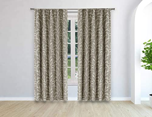 Kelvin Peyton Woven Branches Window Curtain, 38 W x 96 L, Linen