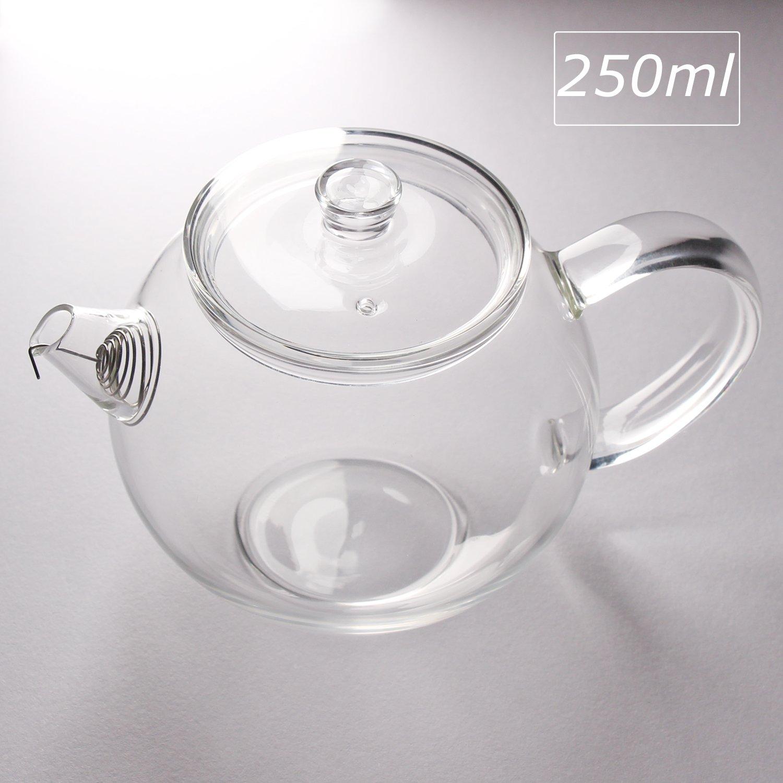 Lttxin,Small Glass Teapot For One With Strainer, Loose Leaf Flower Tea Maker,Single Serve,8.5 Oz