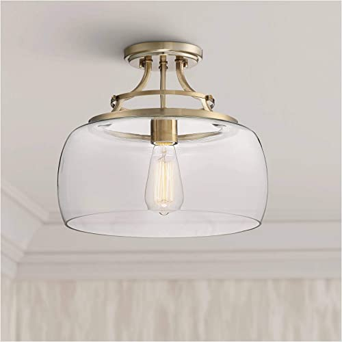 Charleston Rustic Farmhouse Ceiling Light Semi Flush Mount Fixture LED Warm Brass 13 1 2 Wide Clear Glass Shade for Bedroom Kitchen Living Room Hallway Bathroom – Franklin Iron Works