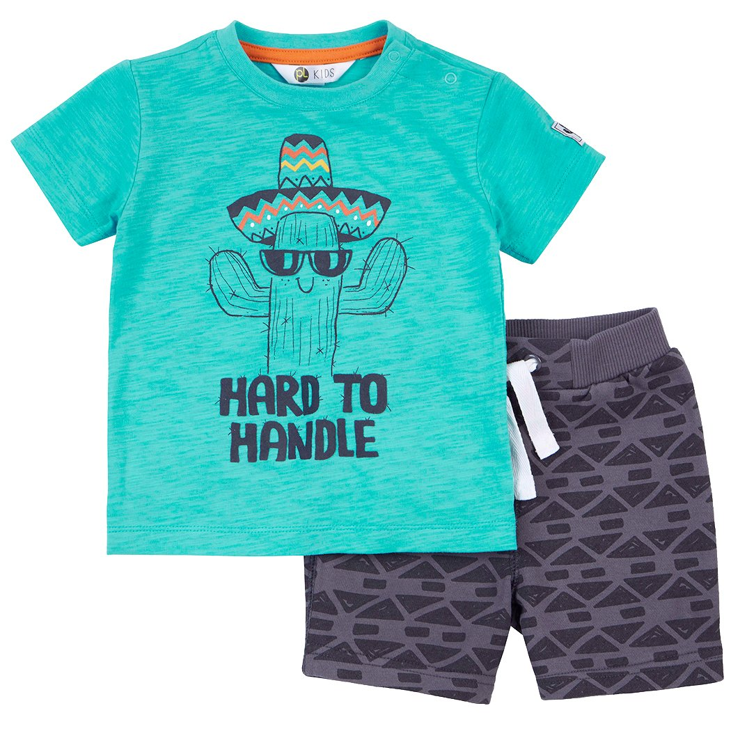 Petit Lem Hard to Handle Smiling Cactus Tシャツとショーツセット 3 Months  B06XWNY631