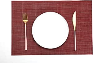 HAOXIANG PVC Placemats,Placemats for Dining Table,Heat-Resistant Placemats, Stain Resistant Washable Mats,Kitchen Table mats Set of 6 (Wine Red)