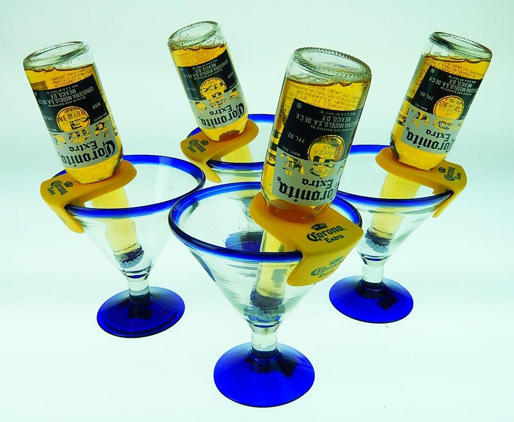 Mexican Glass Margarita Blue Rim 15 Oz with Coronarita Clips Corona Beer Holders (Set of 4 )