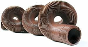 """Camco 39631-A 20' Durable High Tensile Strength Sewer Steel Wire Core – 20' Hose with 15 mils of HTS Vinyl, for Seasonal RVing Compresses to 32"""" for Simple and Easy Storage, Brown (39631)"""