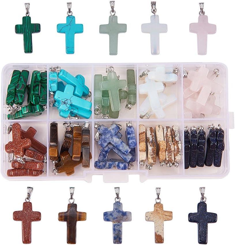 PandaHall 50 Uds 10 Colgantes de Piedras Preciosas Cruzadas de Piedra de Color encantos de curación de Cuarzo Cruzado para Collar, Pendiente, Pulsera, fabricación de Joyas