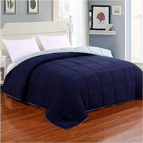 Homelike Moment Reversible Lightweight Comforter Queen Blue All Season Down Alternative Bed Comforter Summer Duvet Insert Quilted Comforters Full Queen Size Navy Light Blue Kitchen Dining