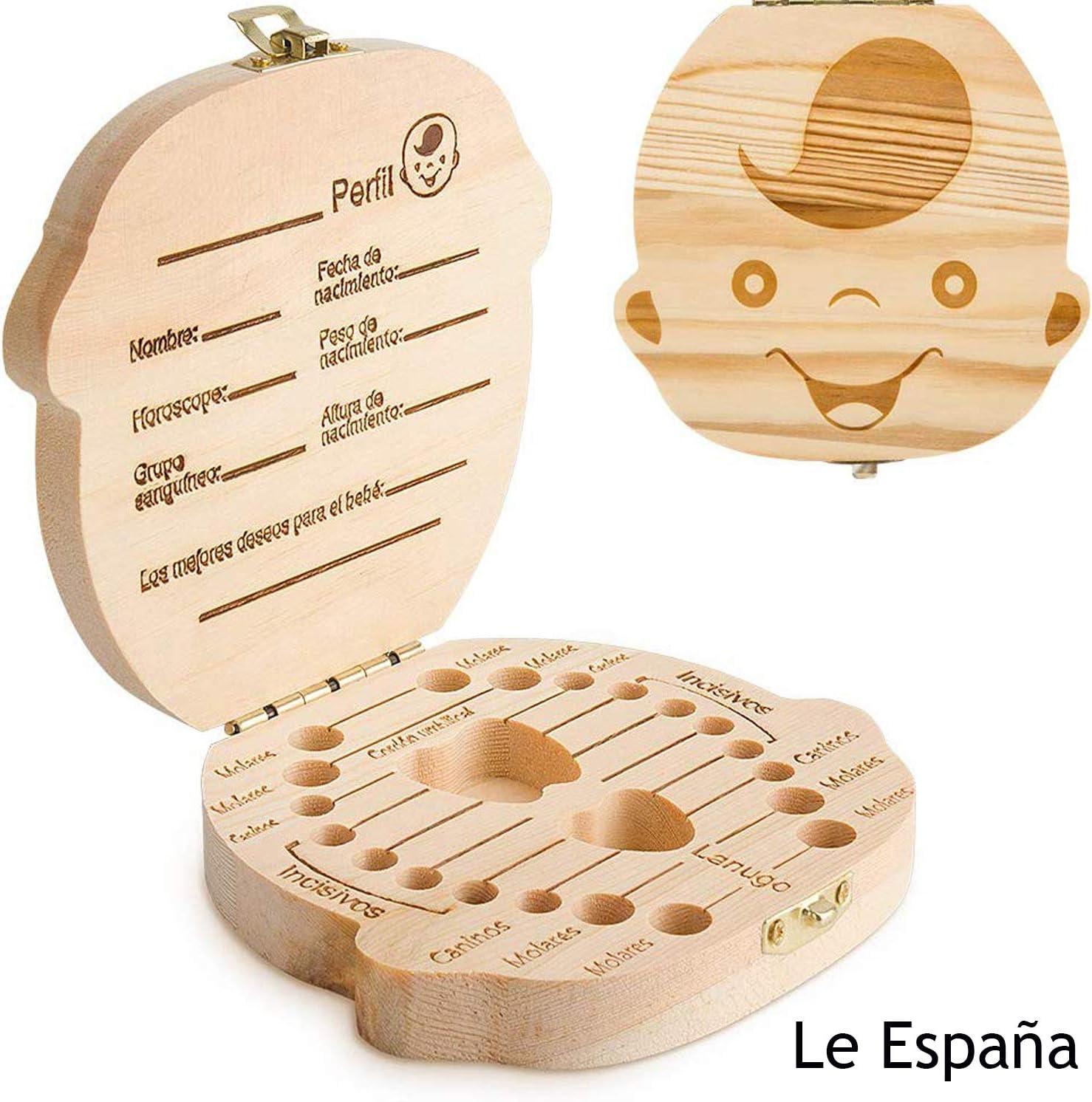 GeekerChip Bebé Dientes Caja(Niño),Caja de Madera para Guardar Dientes para Little Bebé [Versión Español]