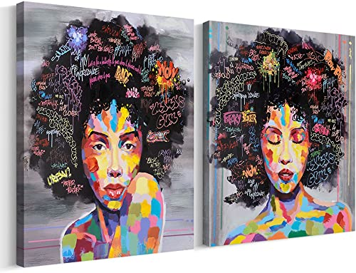 FREE CLOUD Crescent Art Abstract Pop Black Art African American Wall Art Afro Woman Painting on Canvas Print Wall Picture
