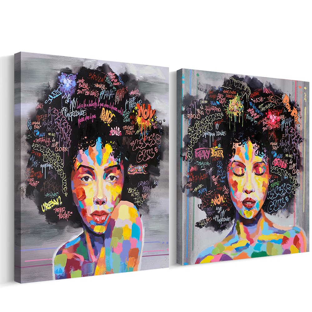 FREE CLOUD Crescent Art Abstract Pop Black Art African American Wall Art Afro Woman Painting On
