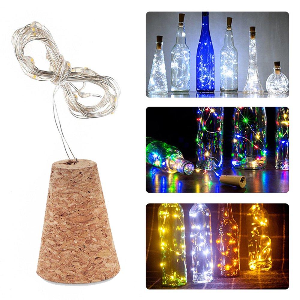 Luces de Corcho para Botella 3 Hilas Luces para Botellas de Vino IP65 Nivel Impermeable 15 Bombillas de LED 30 Pulgadas de Alambre de Cobre para Decoración ...