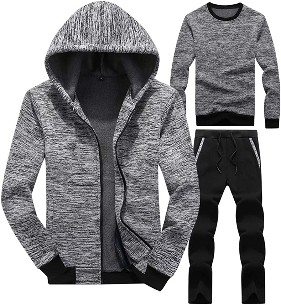 BSGSH Mens Athletic Tracksuit 3 Piece Jacket /&Sweatshirt/&Pants Full Zip Active Wear Set
