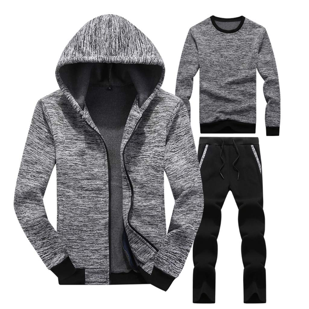 Men Three Piece Sets Casual Long Sleeved Hoodie Sweatshirt Sports Top Pants Sets Gray by Cardigo