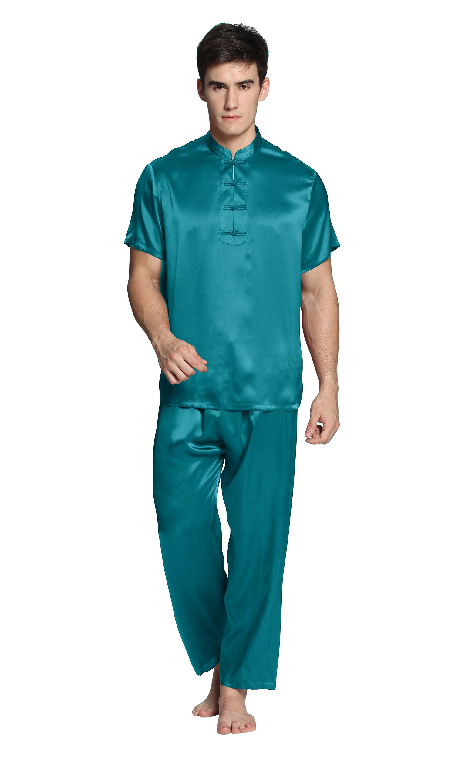 LilySilk Mens Silk Pajamas Set 22 Momme 100% Mulberry Pure Silk Classic Eastern Design Sleepwear For Lounge Dark Teal XXXL/48