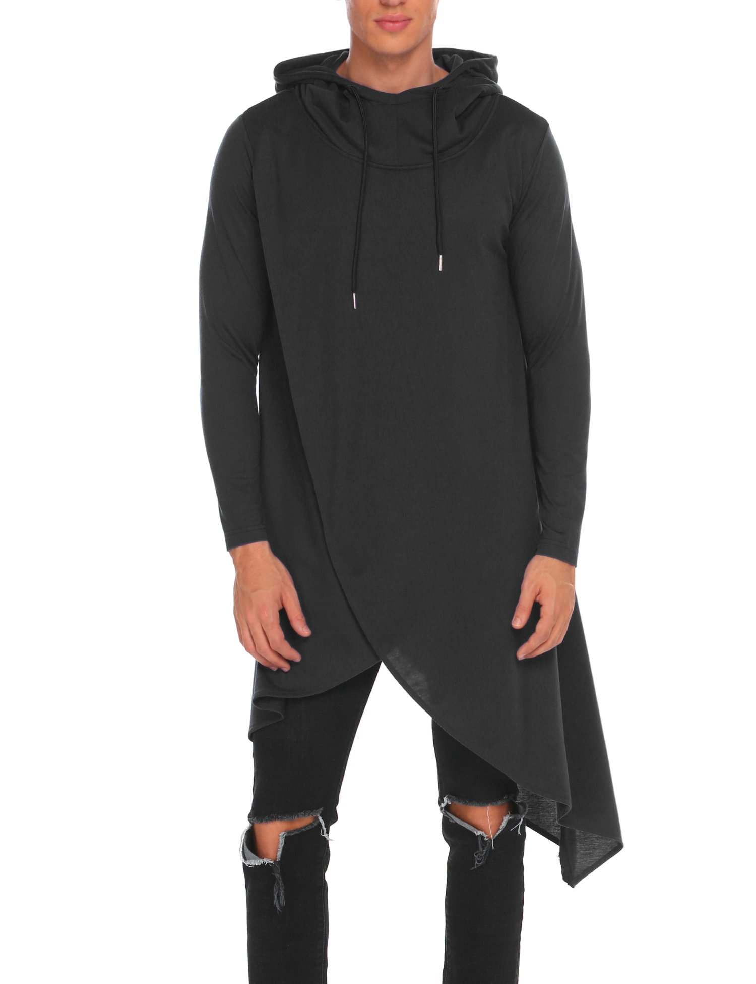 COOFANDY Mens Casual Hooded Poncho Cape Cloak Irregular Hem Hoodie Pullover,Large,Black