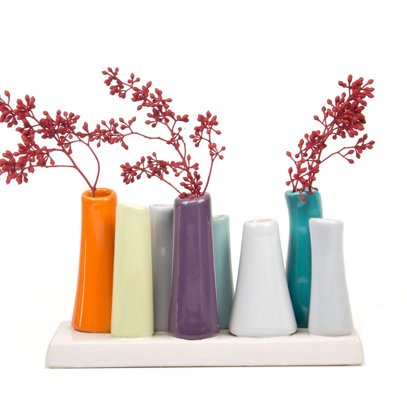 Chive Pooley 8-Tube Vase, Orange