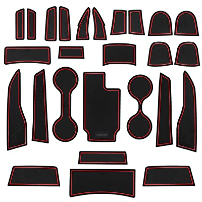 SENSHINE Cup Liner Door Mat for for Chevy Colorado and GMC Canyon 2020 2020 2020 2020 2016 2015 Center Console Liner Insert Accessories Kit Custom Fit(Red Trim, Crew Cab): Automotive