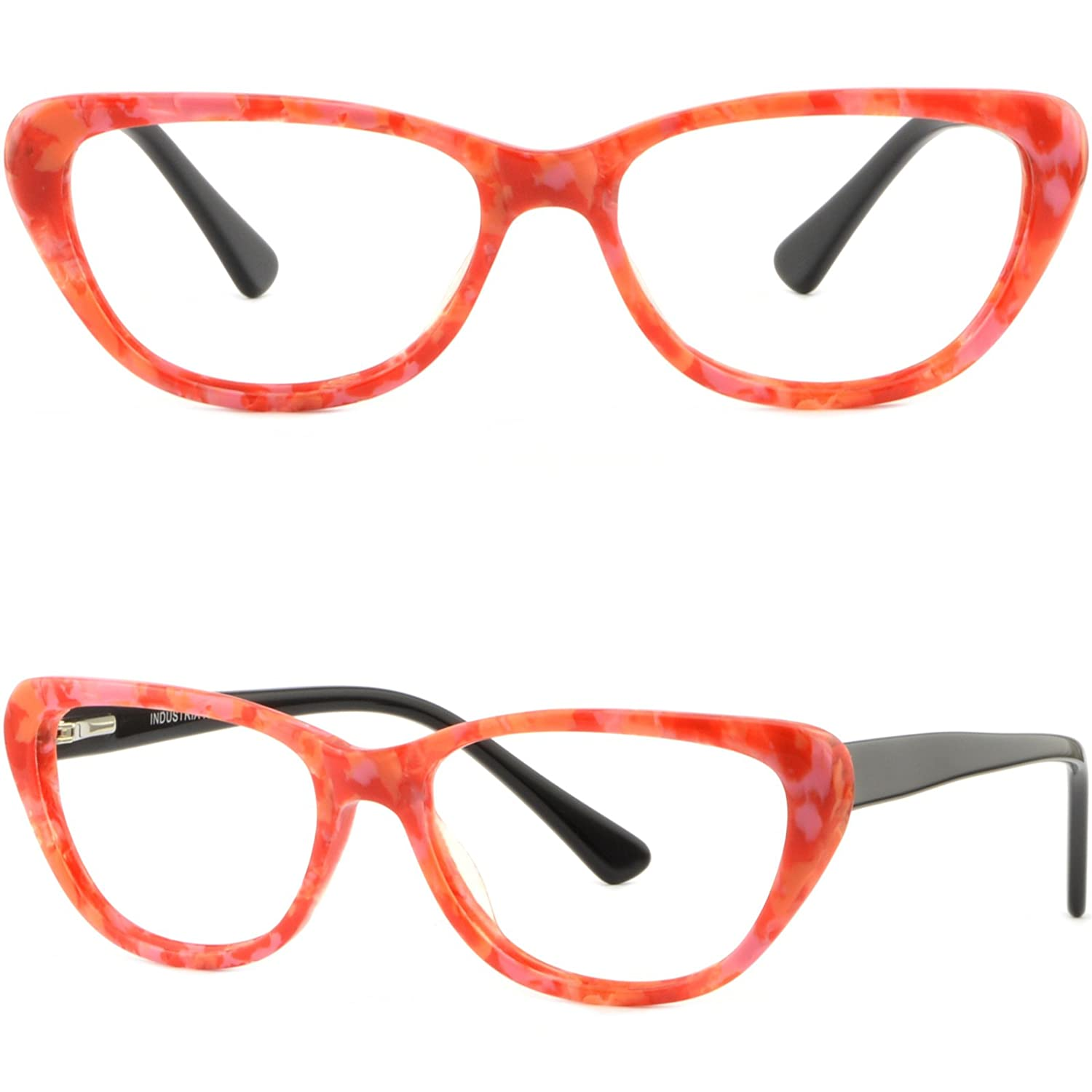 a77f13ca75 Amazon.com  Women s Cat Eye Plastic Frames Spring Hinges Acetate  Prescription Glasses Red  Clothing