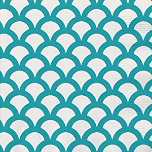 Teal & White Print Scallop Beverage Napkins, 30ct