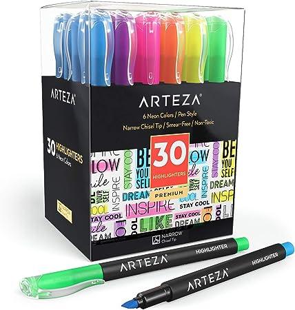 Arteza Subrayadores fluorescentes | Juego de 30 | Pack a granel | 6 colores | Resaltadores fosforescentes con punta biselada estrecha | Tinta no tóxica | para el hogar, la escuela o la oficina: Amazon.es: Oficina y papelería