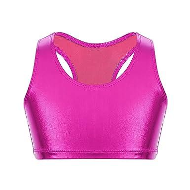 Alvivi Crop Top Niña Ropa de Deporte Camiseta Camisa Tank Top Corto Sujetador Deportivo Ejercicio Fitness