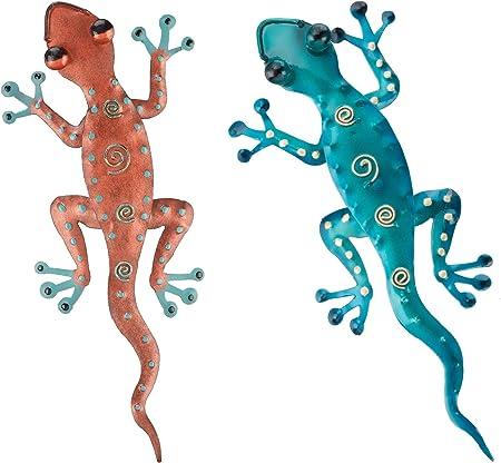 Gecko Wall Hanging Green Gecko Eleven Inches Metal Regal Art