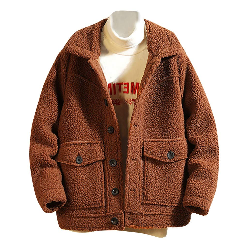 WINJUD Mens Coat Thick Warm Fleece Jackets Button Pocket Winter Windproof Casual Outerwear(Coffee,5XL) by WINJUD