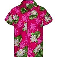 King Kameha Funky - Camisa hawaiana para niños y niñas, manga corta, bolsillo frontal, estampado hawaiano, unisex…