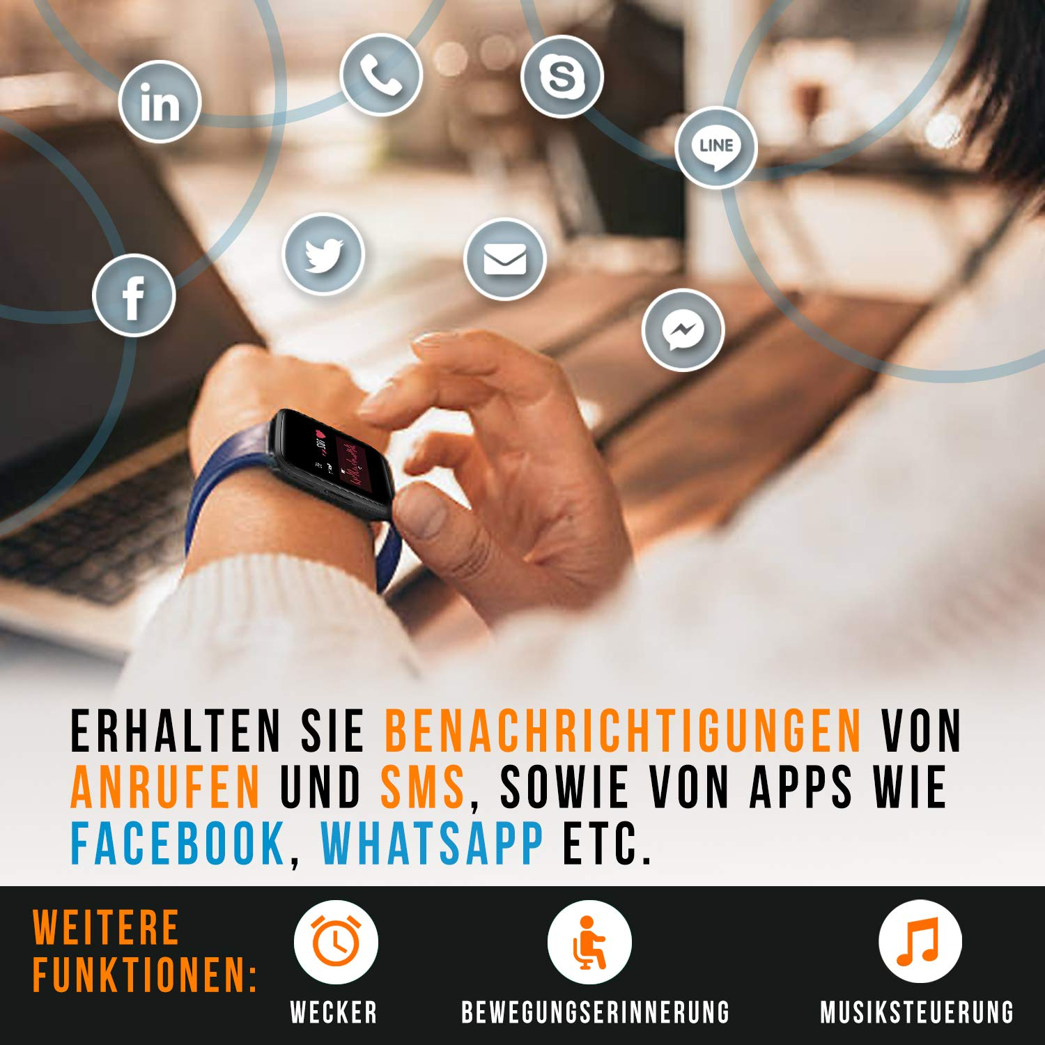 Icefox Smartwatch Fitness Armband mit Voller Touchscreen IP68 Wasserdicht Fitness Trackers f/ür Android iOS